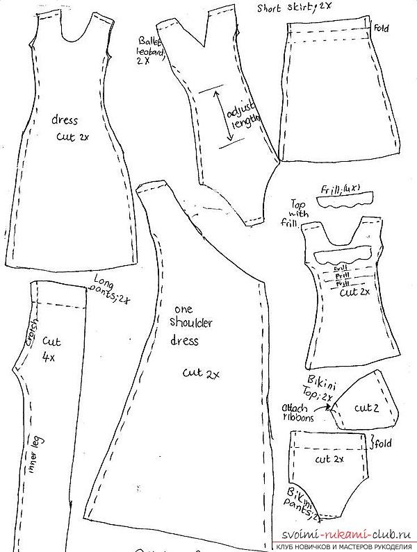 Выкройки одежды для тильды