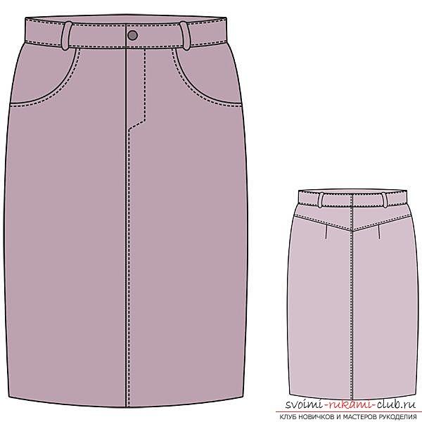 Эскиз прямой юбки. Выкройка