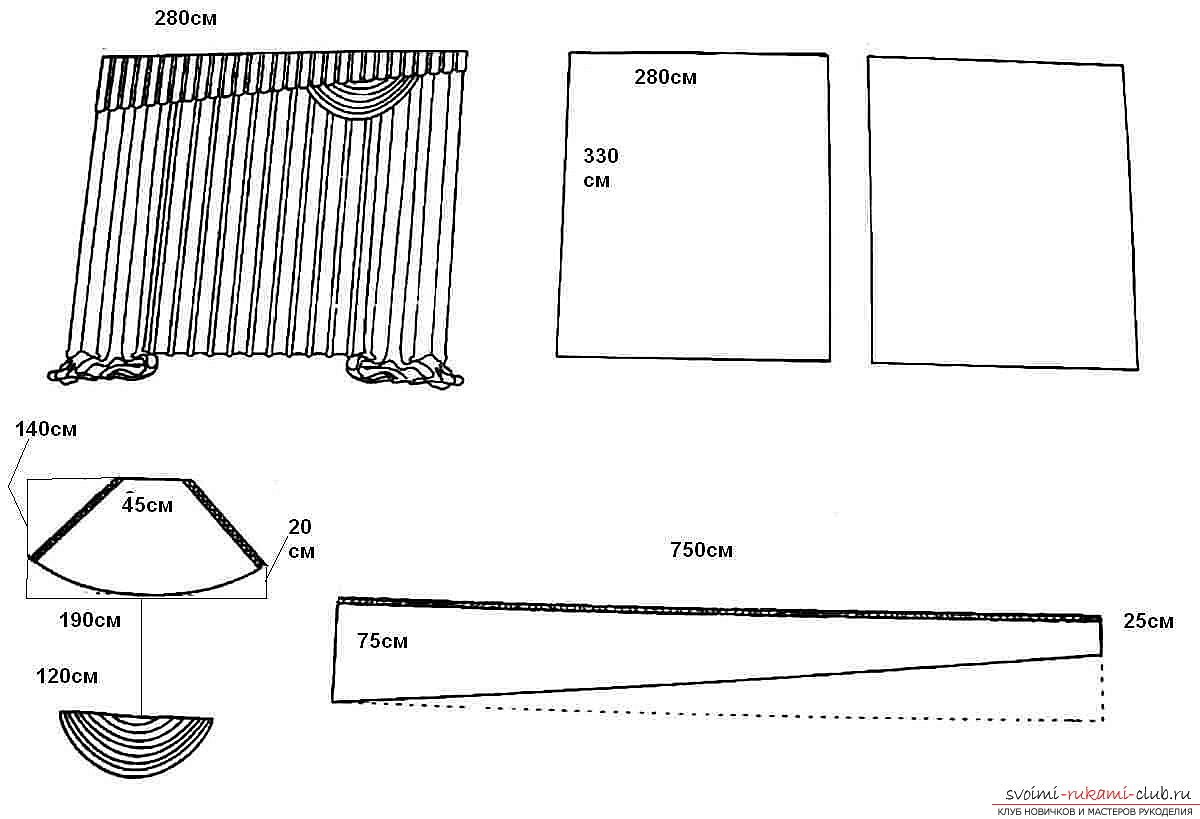 Подвязки для шторы своими руками выкройки