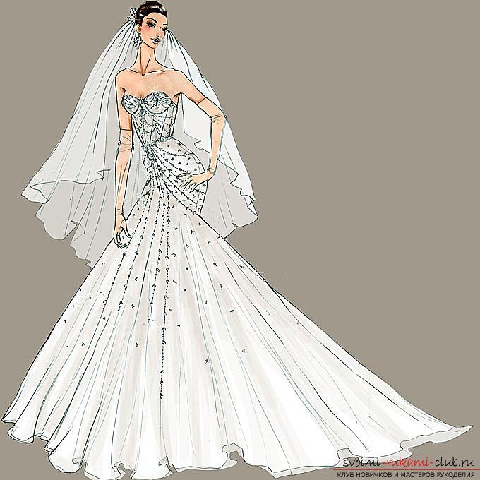 Рисуем девочек в свадебных платьях разных фасонов