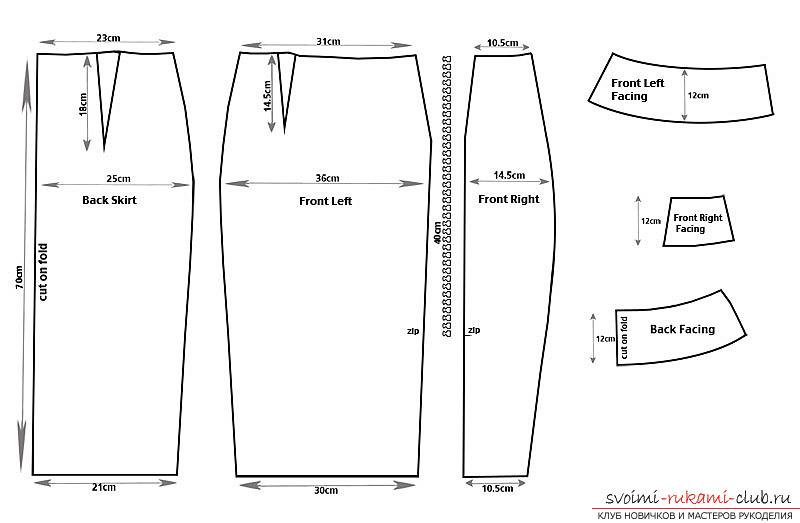 Как сшить прямую юбку с одним швом на резинке 43
