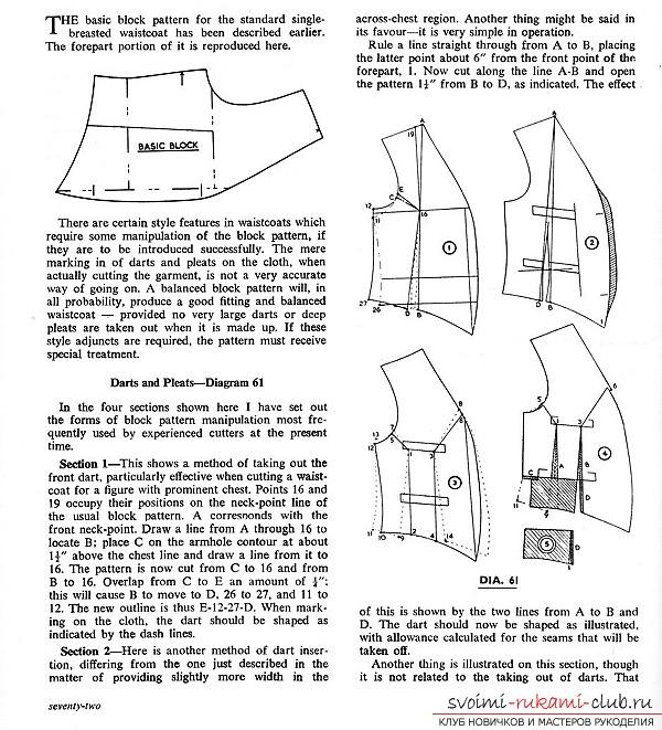 Выкройки жилетов с размерами