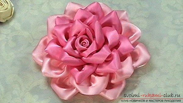Как сделать цветок из атласной ленточки своими руками