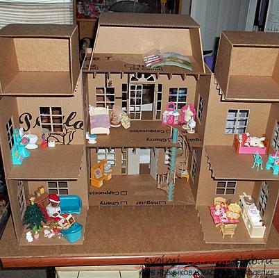 Как сделать из коробки кукольный домик 340