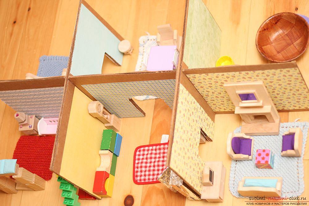 Кукольный домик из старых коробок, мастер-класс, фото