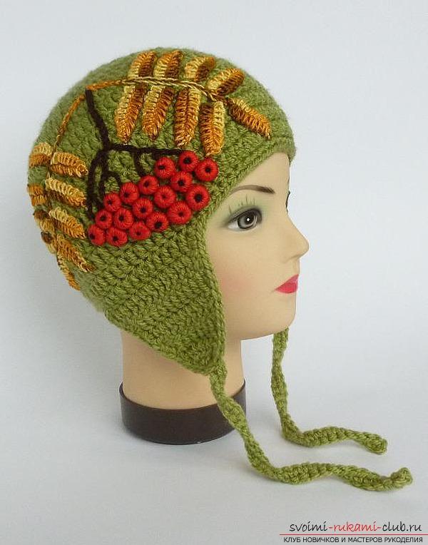 Рябина крючком: украшаем вязаные крючком шапки