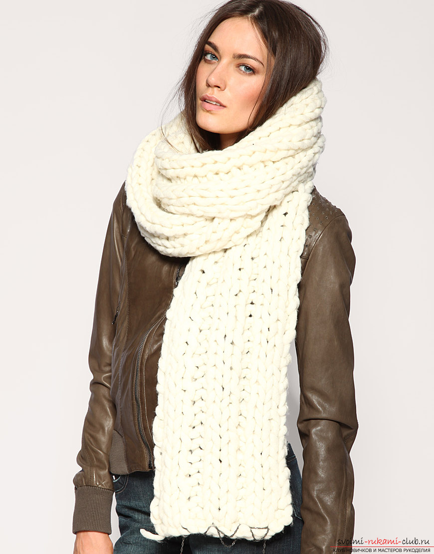 крупная вязка спицами шарф схемы