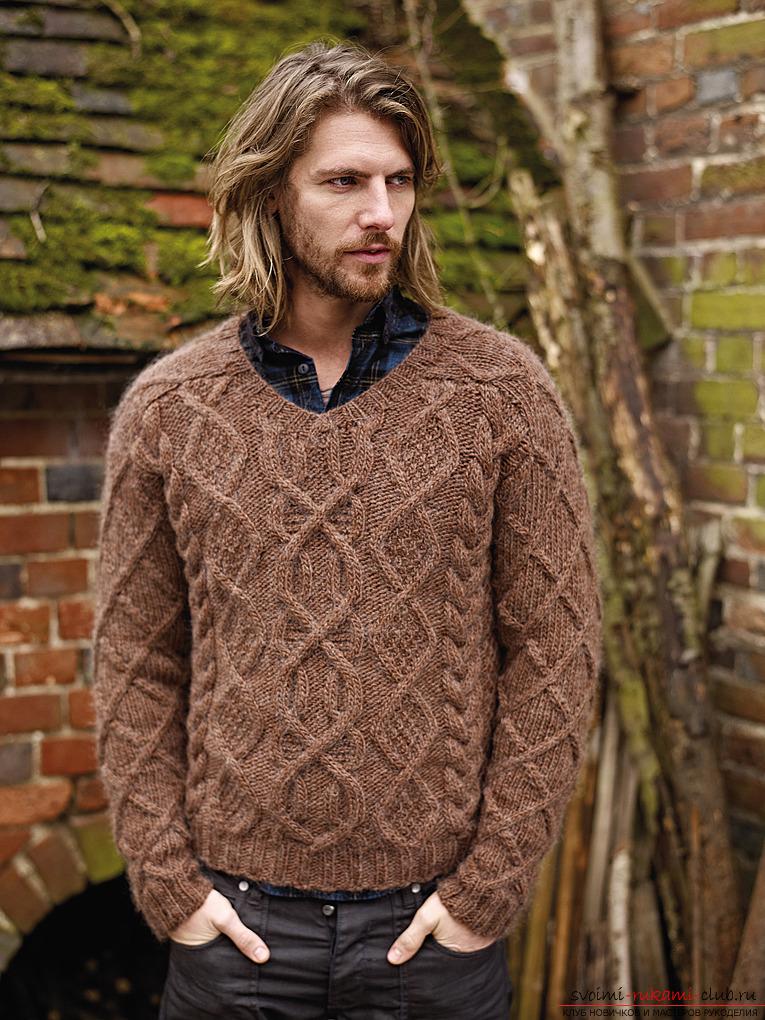 Вязанный свитер для мужчин своими руками