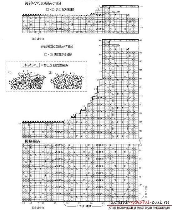 Схема вязания жилета спицами - Вязание