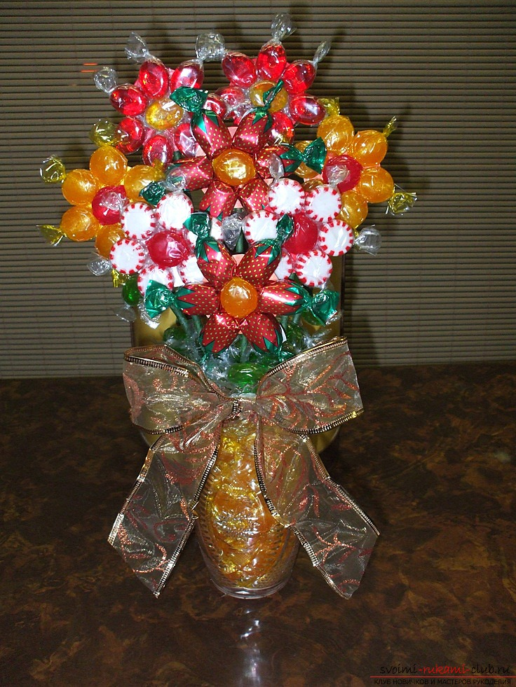 Красивые букеты из конфет мастер класс