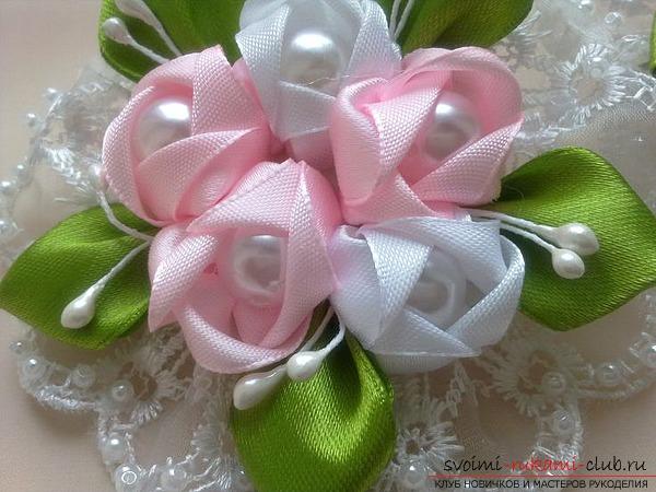 Цветок для волос из ленты своими руками
