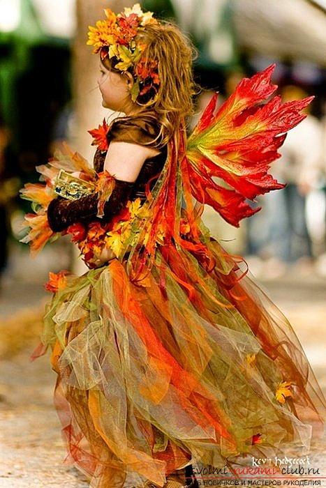 Осенняя платье из листьев
