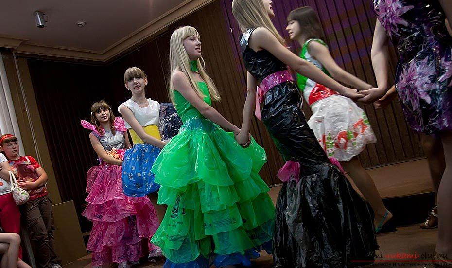 Как сделать пышное платье из мусорных пакетов своими руками