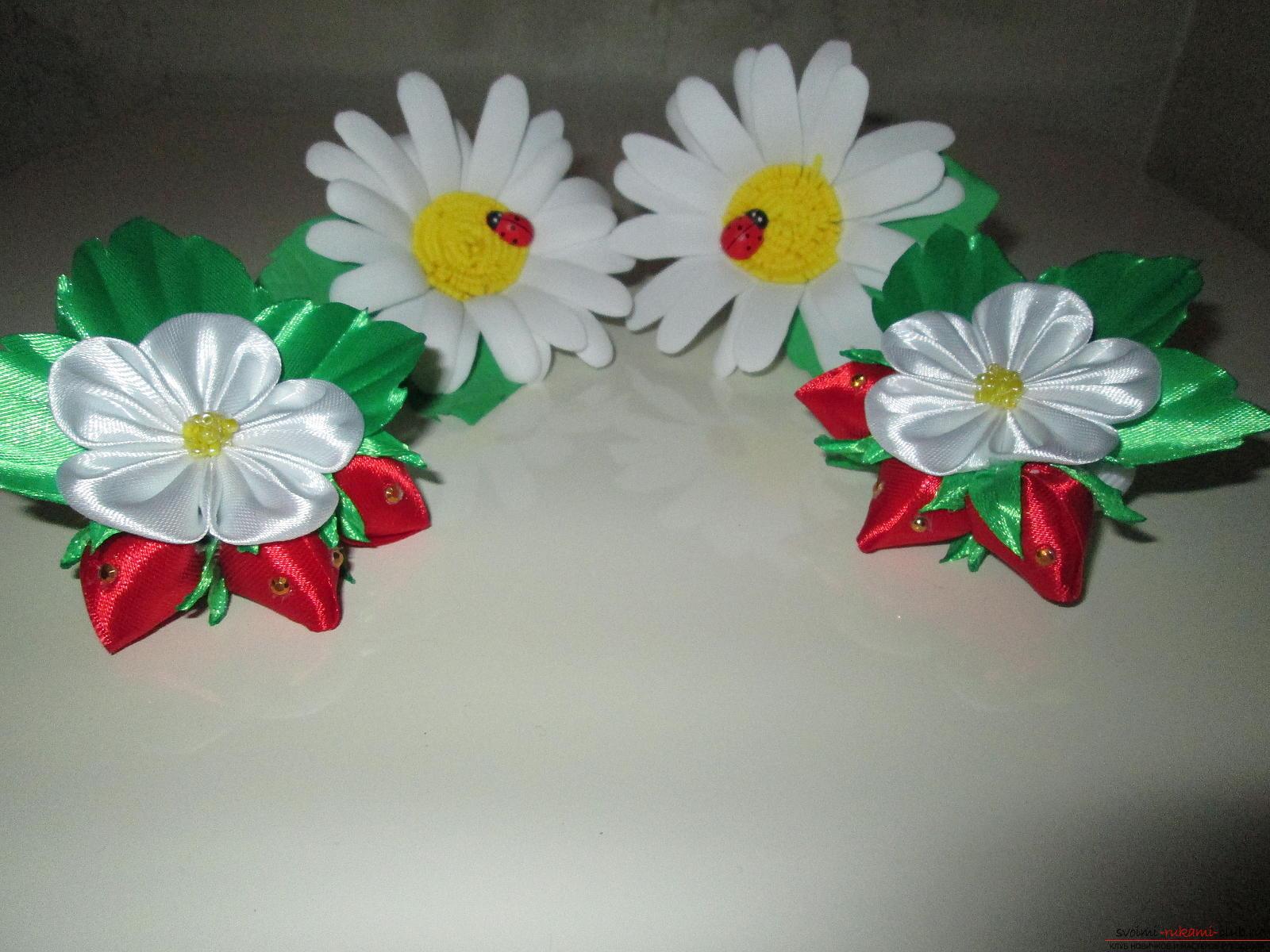 Цветочки для резинок своими руками