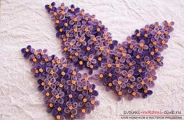 Уникальный сиреневый квиллинг цветка удачи