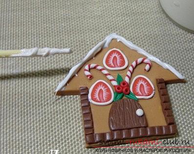 Пряничный домик из полимерной глины - новогодний мастер-класс своими руками. Фото №5