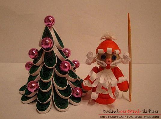 Создание поделки Деда мороза и ёлочки своими руками - мастер-класс квиллинга. Фото №7