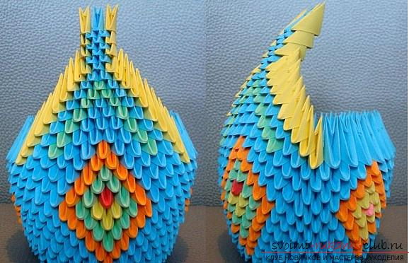 Как сделать павлина в технике модульного оригами, пошаговые фото и подробное описание работы, цветовые решения в исполнении павлиньих перьев с