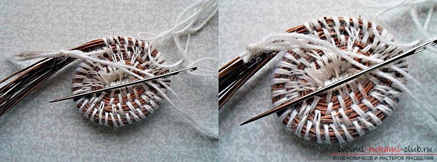 Плетение оригинальной корзины из сосновых иголок с объяснениями и поэтапными фото.. Фото №9
