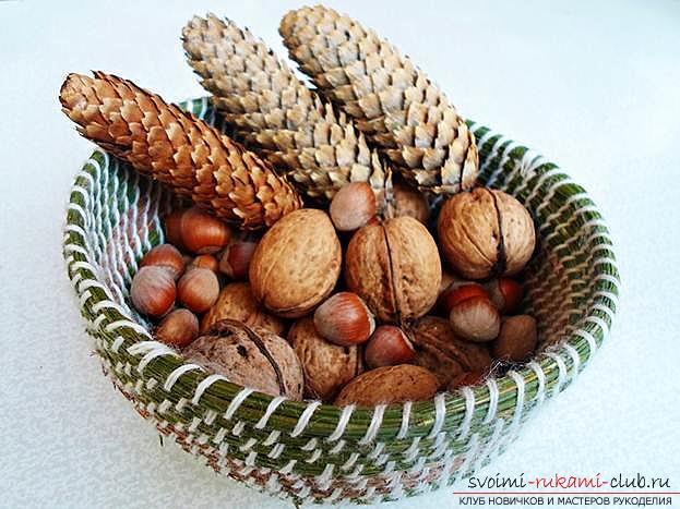 Плетение оригинальной корзины из сосновых иголок с объяснениями и поэтапными фото.. Фото №19
