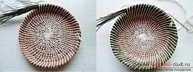 Плетение оригинальной корзины из сосновых иголок с объяснениями и поэтапными фото