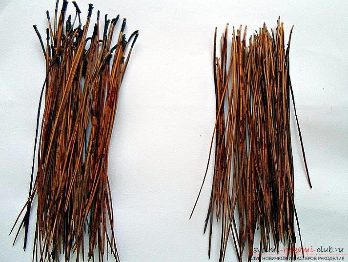 Плетение оригинальной корзины из сосновых иголок с объяснениями и поэтапными фото.. Фото №5