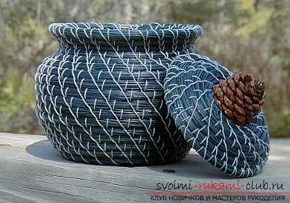Плетение оригинальной корзины из сосновых иголок с объяснениями и поэтапными фото.. Фото №2