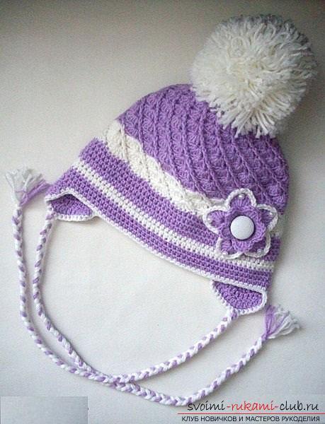 Как связать осеннюю шапочку крючком своими руками для девочек, подробные схемы, фото и описание работы. Фото №1