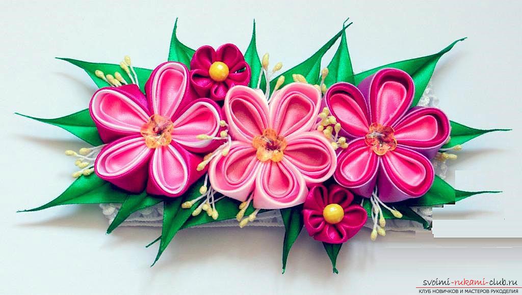 Как декорировать повязку для волос в технике канзаши, подробный мастер класс по созданию многоцветных круглых лепестков и украшению повязки для волос.. Фото №1
