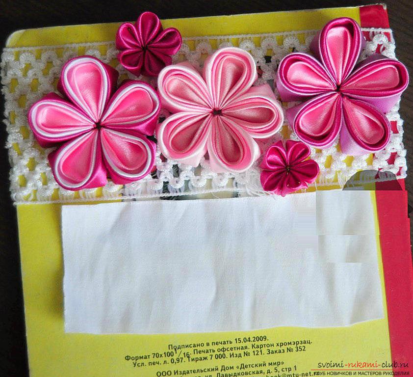 Как декорировать повязку для волос в технике канзаши, подробный мастер класс по созданию многоцветных круглых лепестков и украшению повязки для волос.. Фото №19