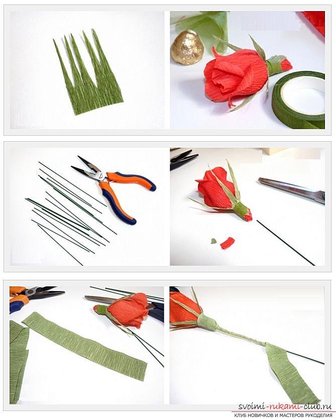 Как сделать конфетный букет из роз, пошаговые фото и инструкция создания роз из гофрированной бумаги с сердцевинками из конфет. Фото №3