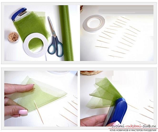 Как сделать конфетный букет из роз, пошаговые фото и инструкция создания роз из гофрированной бумаги с сердцевинками из конфет. Фото №4