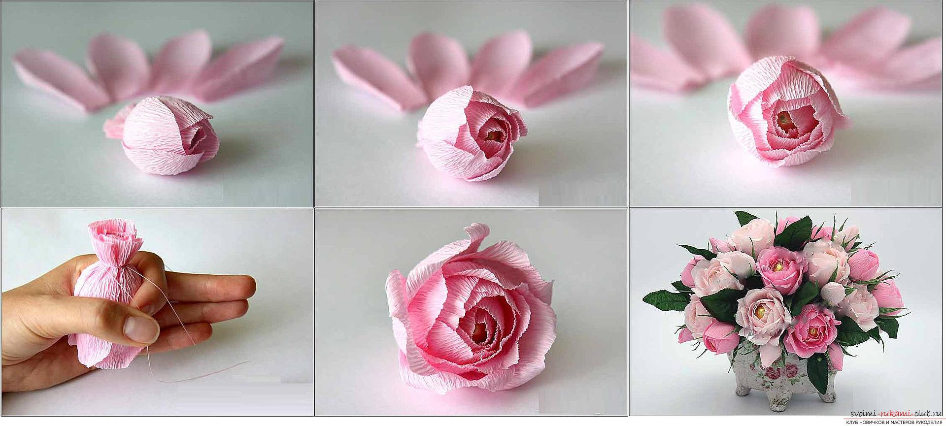 Как сделать конфетный букет из роз, пошаговые фото и инструкция создания роз из гофрированной бумаги с сердцевинками из конфет. Фото №11