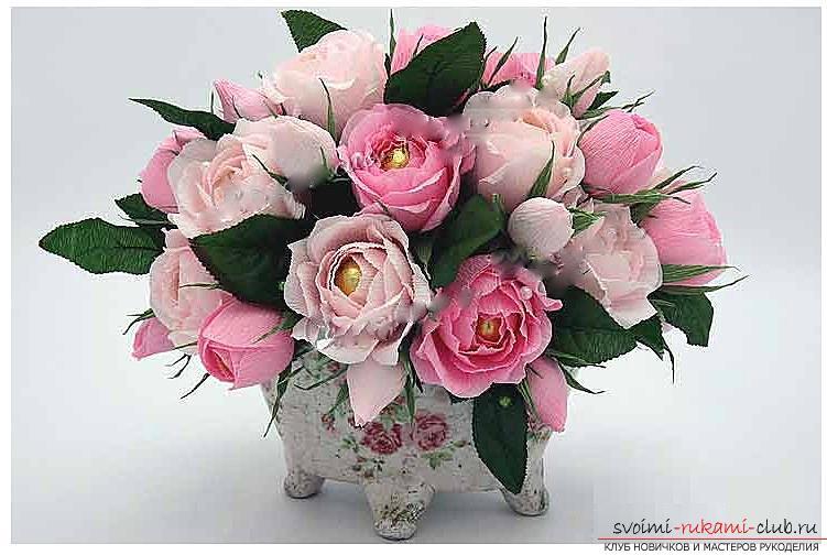Как сделать конфетный букет из роз, пошаговые фото и инструкция создания роз из гофрированной бумаги с сердцевинками из конфет. Фото №9