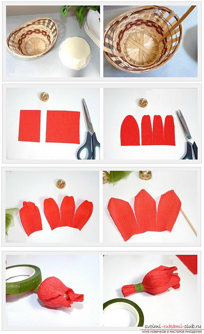 Как сделать конфетный букет из роз, пошаговые фото и инструкция создания роз из гофрированной бумаги с сердцевинками из конфет. Фото №2
