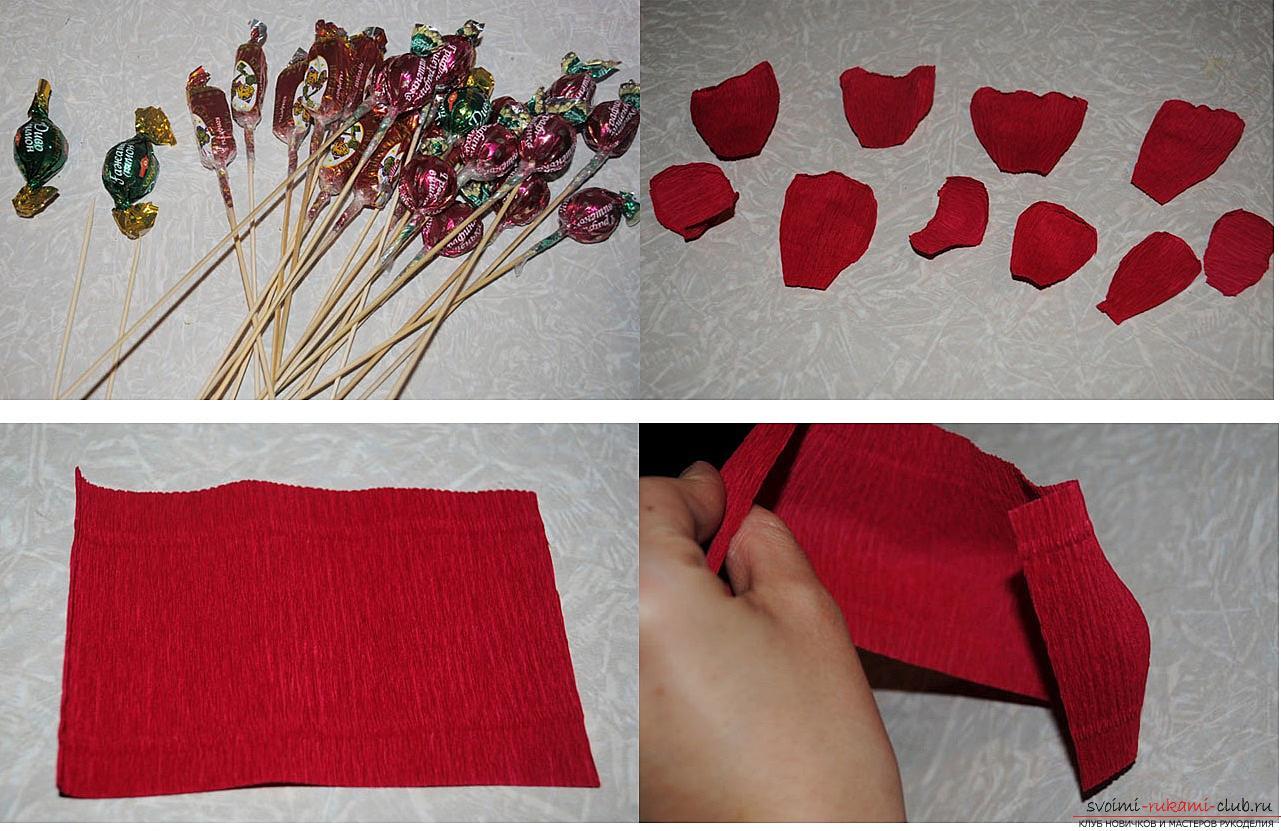 Как сделать конфетный букет из роз, пошаговые фото и инструкция создания роз из гофрированной бумаги с сердцевинками из конфет. Фото №7