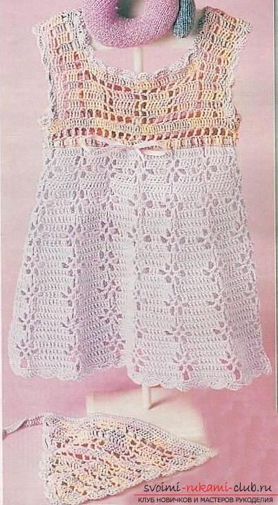Как связать красивое платье и бандану для девочки до года крючком?. Фото №7