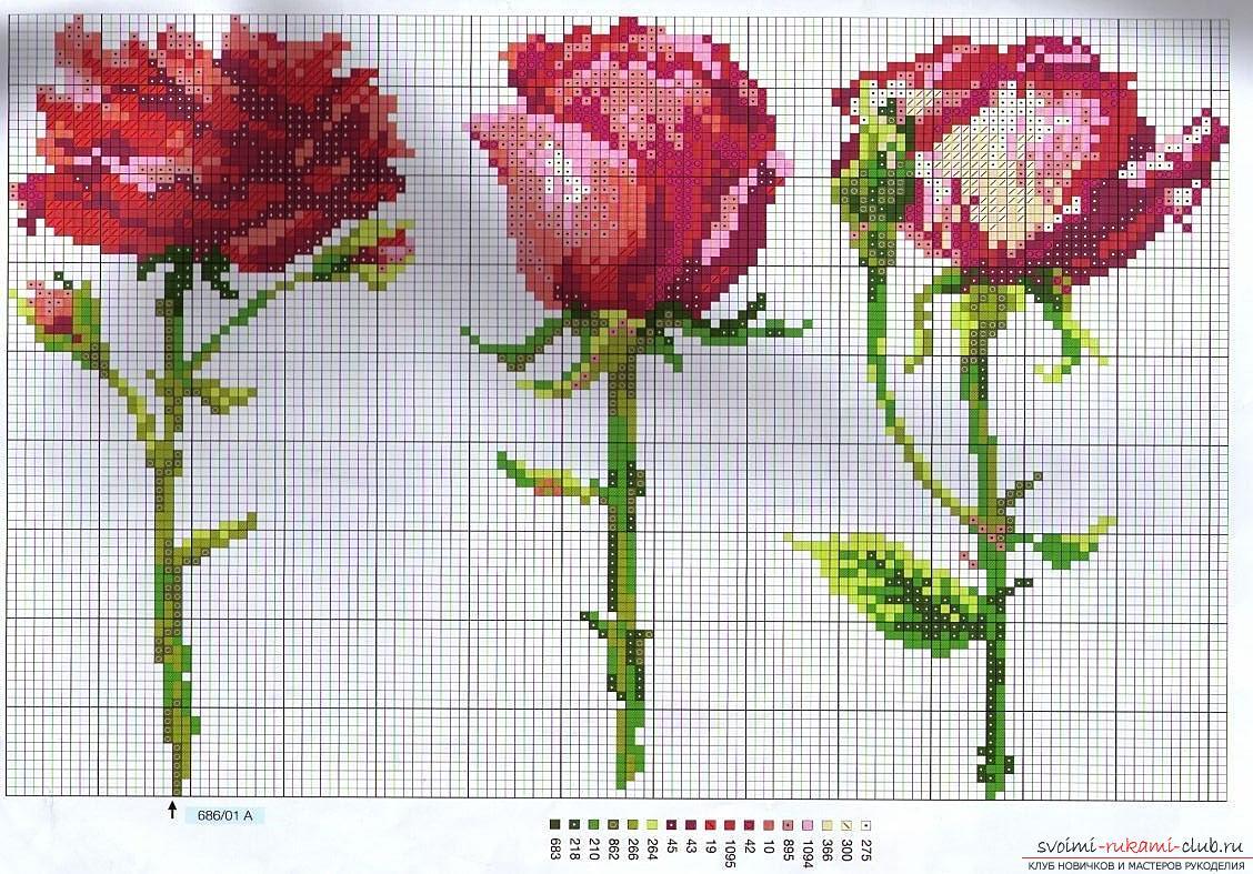 Как вышить крестом нежные розы быстро и легко. Фото №12