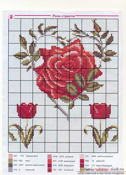 Подробные схемы вышивки крестом розы 51