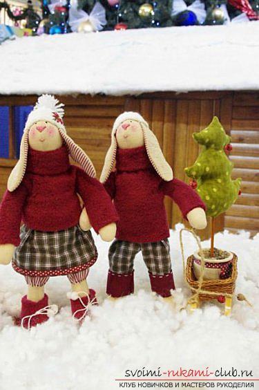 Кукла Тильда своими руками, популярный заяц Тильда, новогодний заяц Тильда, как правильно выбрать ткань для пошива зайца Тильда, выкройки зайца, выкройки одежды для зайца Тильда.. Фото №31