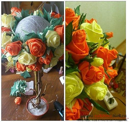 Как сделать красивое деревце топиарий из салфеток, пошаговые фото и подробное описание работы по созданию топиариев с различными цветами. Фото №15