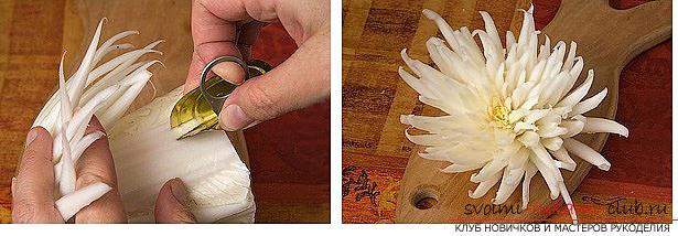 Как сделать красивые и оригинальные изделия из различных овощей, пошаговые фото и инструкция создания цветов из лука, мокови, краснокочанной и пекинской капусты, поделки из тыквы в технике карвинг. Фото №44