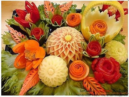 Как сделать красивые и оригинальные изделия из различных овощей, пошаговые фото и инструкция создания цветов из лука, мокови, краснокочанной и пекинской капусты, поделки из тыквы в технике карвинг. Фото №1