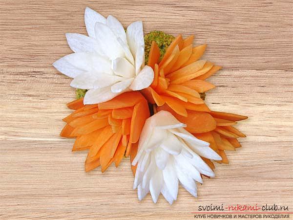 Как сделать красивые и оригинальные изделия из различных овощей, пошаговые фото и инструкция создания цветов из лука, мокови, краснокочанной и пекинской капусты, поделки из тыквы в технике карвинг. Фото №33