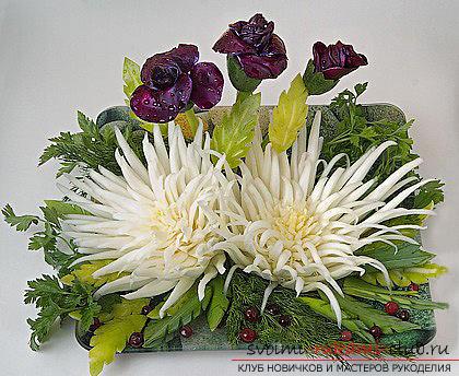 Как сделать красивые и оригинальные изделия из различных овощей, пошаговые фото и инструкция создания цветов из лука, мокови, краснокочанной и пекинской капусты, поделки из тыквы в технике карвинг. Фото №40