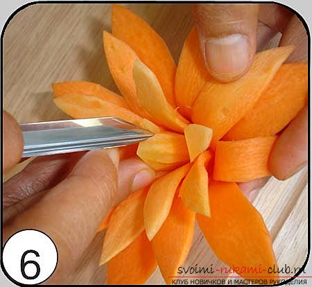 Как сделать красивые и оригинальные изделия из различных овощей, пошаговые фото и инструкция создания цветов из лука, мокови, краснокочанной и пекинской капусты, поделки из тыквы в технике карвинг. Фото №39