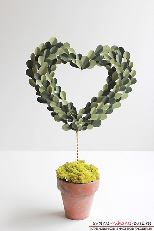 Как сделать декоративное деревце из бумаги, несколько мастер классов по созданию деревьев в технике квилинг, топиариев из бумаги и оригами. Фото №13