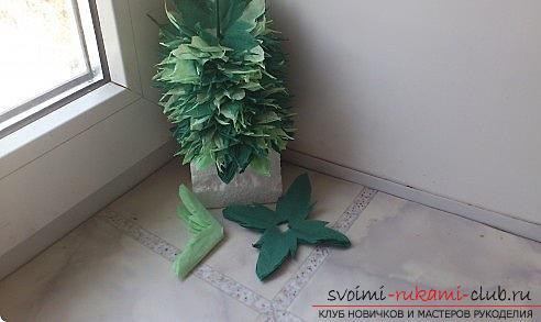Как сделать красивое деревце топиарий из салфеток, пошаговые фото и подробное описание работы по созданию топиариев с различными цветами. Фото №12