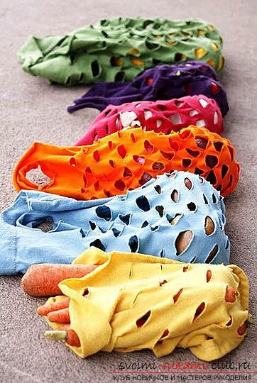 Делаем из старых вещей новые, как изготовить сумку-авоську из старой трикотажной футболки.. Фото №3