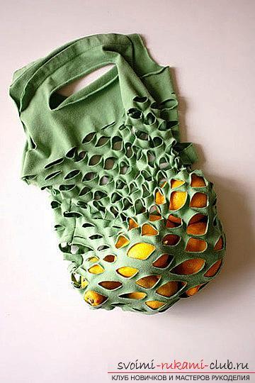 Делаем из старых вещей новые, как изготовить сумку-авоську из старой трикотажной футболки.. Фото №1